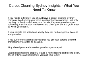 Carpet Cleaning Sydney Insights