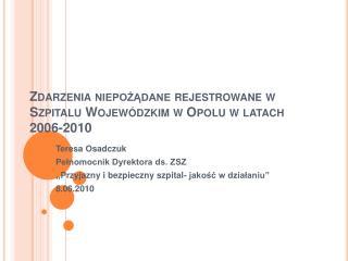 Zdarzenia niepozadane rejestrowane w Szpitalu Wojew dzkim w Opolu w latach 2006-2010
