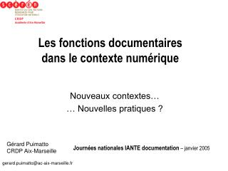 Les fonctions documentaires   dans le contexte num rique