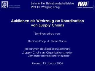 Auktionen als Werkzeug zur Koordination von Supply Chains