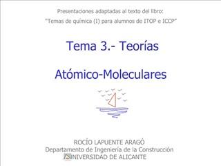 Presentaciones adaptadas al texto del libro:  Temas de qu mica I para alumnos de ITOP e ICCP