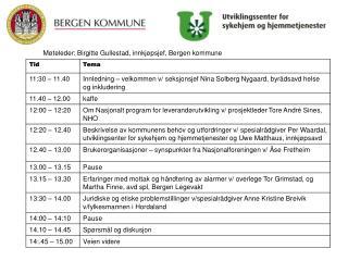 M teleder: Birgitte Gullestad, innkj psjef, Bergen kommune