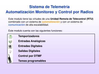 Sistema de Telemetr a Automatizaci n Monitoreo y Control por Radios