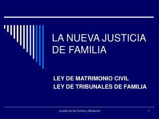 LA NUEVA JUSTICIA DE FAMILIA