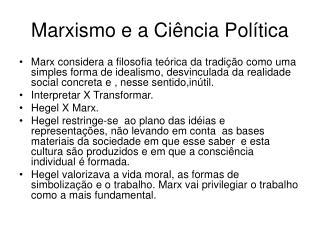 Marxismo e a Ci ncia Pol tica