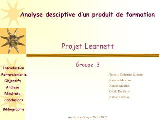 Analyse desciptive d un produit de formation