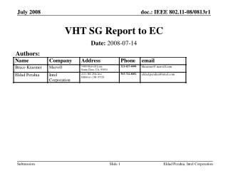 VHT SG Report to EC