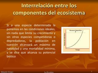 Interrelaci n entre los componentes del ecosistema