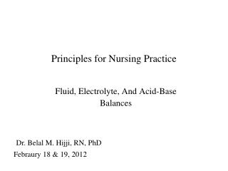 Principles for Nursing Practice
