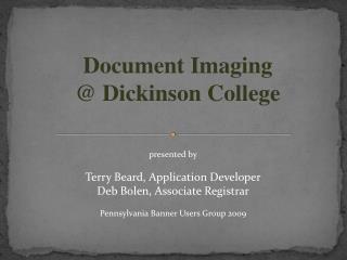 Document Imaging   Dickinson College