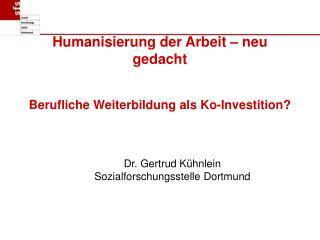 Humanisierung der Arbeit   neu gedacht   Berufliche Weiterbildung als Ko-Investition