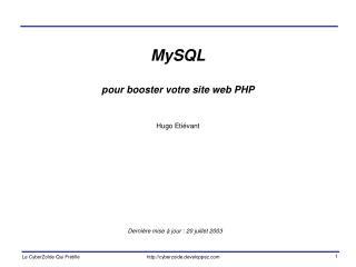 MySQL  pour booster votre site web PHP