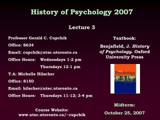 History of Psychology 2007  Lecture 3