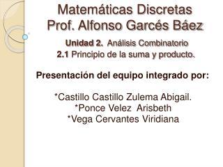 Matem ticas Discretas Prof. Alfonso Garc s B ez  Unidad 2.  An lisis Combinatorio  2.1 Principio de la suma y producto.