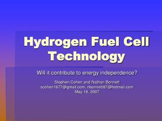Hydrogen Fuel Cell  Technology