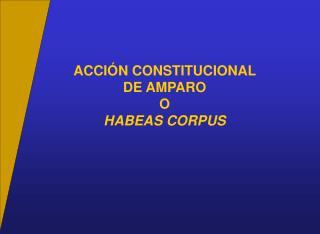 ACCI N CONSTITUCIONAL  DE AMPARO O  HABEAS CORPUS