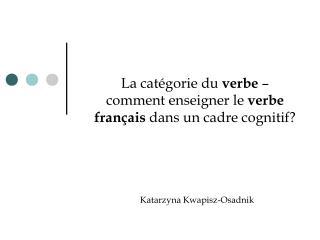 La cat gorie du verbe   comment enseigner le verbe fran ais dans un cadre cognitif