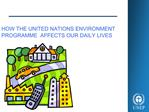 HOW THE UNITED NATIONS ENVIRONMENT PROGRAMME  AFFECTS OUR DAILY LIVES