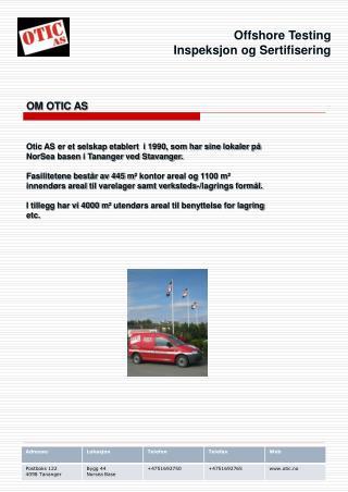 Offshore Testing Inspeksjon og Sertifisering