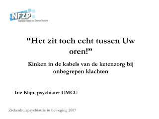 Ziekenhuispsychiatrie in beweging 2007