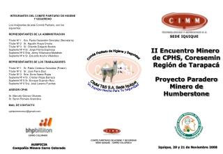 II Encuentro Minero  de CPHS, Coresemin Regi n de Tarapac   Proyecto Paradero Minero de Humberstone