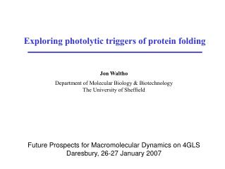Exploring photolytic triggers of protein folding