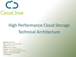 High Performance Cloud StorageTechnical Architecture