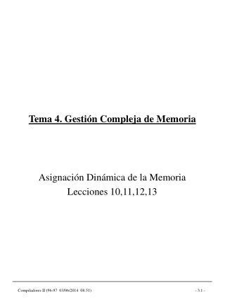 Tema 4. Gesti n Compleja de Memoria
