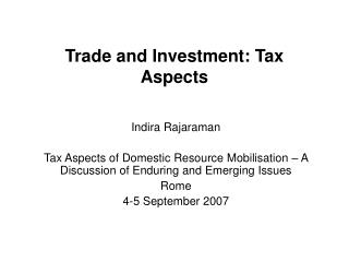 Trade and Investment: Tax Aspects