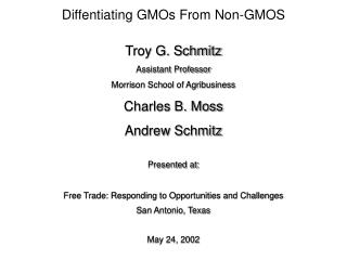 Diffentiating GMOs From Non-GMOS