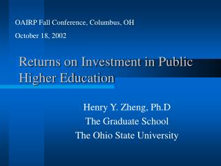 Returns on Investment in Public Higher Education