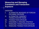 Measuring and Managing Translation and Transaction Exposure