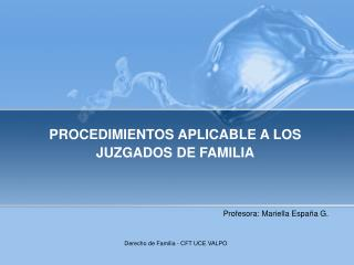 PROCEDIMIENTOS APLICABLE A LOS JUZGADOS DE FAMILIA