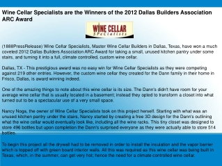Wine Cellar Specialists are the Winners of the 2012 Dallas