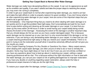 Getting Your Carpet Back to Normal After Water Damage