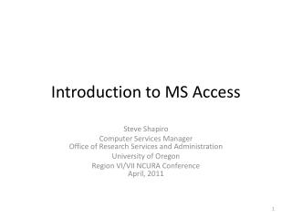 Introduction to MS Access