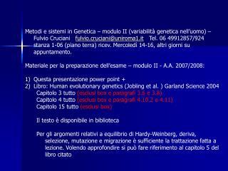 Metodi e sistemi in Genetica   modulo II variabilit  genetica nell uomo  Fulvio Cruciani   fulvio.crucianiuniroma1.it