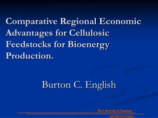Comparative Regional Economic Advantages for Cellulosic Feedstocks for Bioenergy Production.