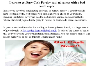 Learn to get Easy Cash Payday cash advances