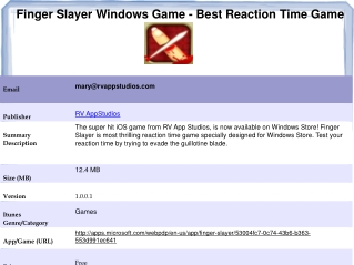 Finger Slayer Windows Game - Best Reaction Time Game