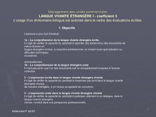 Management des unit s commerciales LANGUE VIVANTE  TRANG RE I - coefficient 3 L usage d un dictionnaire bilingue est aut