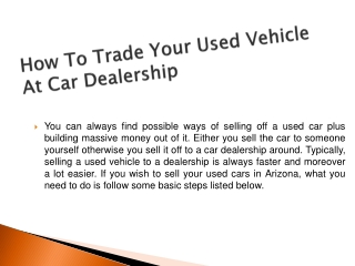 How To Trade Your Used Vehicle At Car Dealership