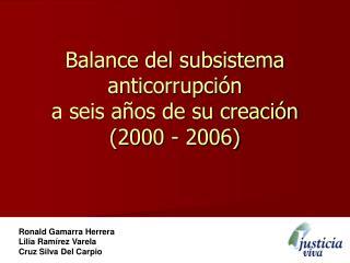 Balance del subsistema anticorrupci n a seis a os de su creaci n 2000 - 2006