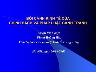 BI CNH KINH T CA  CH NH S CH V  PH P LUT CNH TRANH