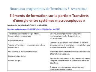 Nouveaux programmes de Terminales S  rentr e2012