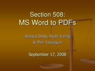 Section 508:  MS Word to PDFs