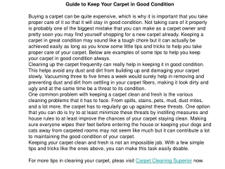 Guide to Keep Your Carpet in Good Condition