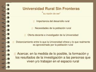 Universidad Rural Sin Fronteras  su raz n de ser
