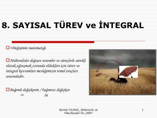 8. SAYISAL T REV ve INTEGRAL