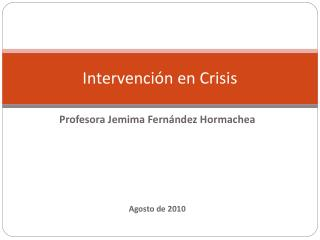 Intervenci n en Crisis